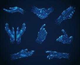 蓝色多边形菱形样式手势素材