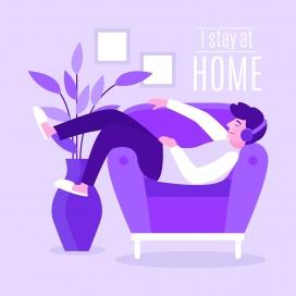 躺在紫色沙发上戴耳机听歌的单身男