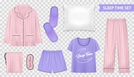粉红与紫色的女性睡衣睡裤素材