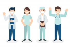 戴口罩的医护仁人员卡通素材图