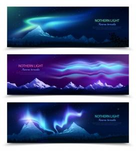 蓝紫色北极光夜空景观
