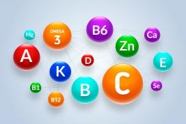 圆形交叉线链接的复合维生素矿物质图表素材