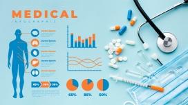 时尚简洁的健康体检信息图素材