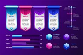 蓝紫精致的3D信息图表素材