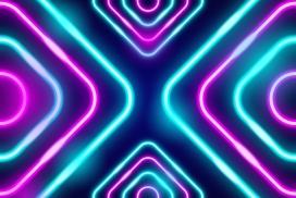 对称式的蓝紫霓虹灯背景