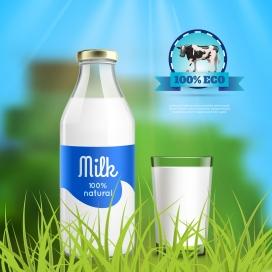 纯净的新鲜牛奶素材