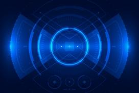 蓝色雷达扫射素材