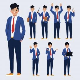 时尚帅气的卡通职业经理人素材图