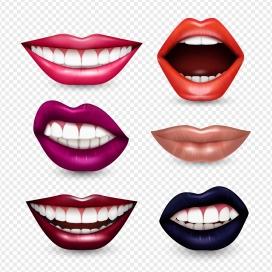 时尚的女性嘴巴牙齿素材
