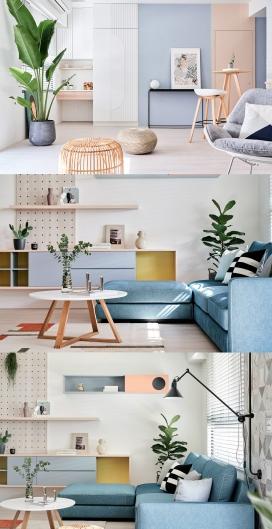 粉色和蓝色室内设计