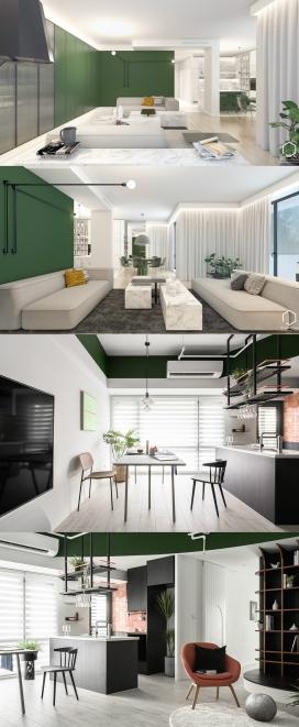 探索绿色主题的室内内饰