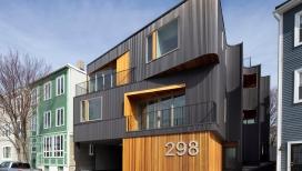 面向波士顿港的古铜色波纹钢房屋