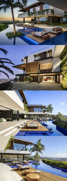 洛杉矶带分层游泳池的住宅设计