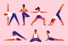 瑜伽锻炼卡通素材