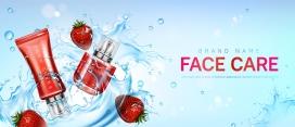 草莓洗面奶护肤品水花素材