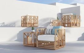 户外木质沙发