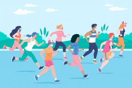 戴口罩奔跑的马拉松运动爱好素材