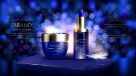 夜间面部皮肤护理化妆品系列素材