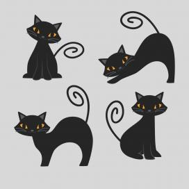 卡通小黑猫素材