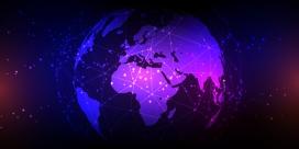 蓝紫色的地球网络素材
