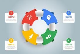 五彩立体的救生圈圆形信息图表