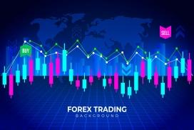 蓝色外汇交易背景数据素材