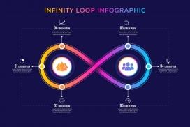 渐变色交叉的环形信息图表