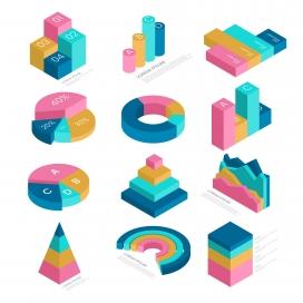 五彩立体的等距信息图集合