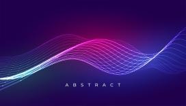 多彩动感抽象波浪线背景设计