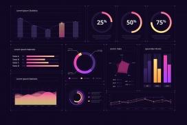 紫色数据统计素材下载