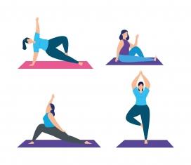 卡通瑜伽锻炼素材