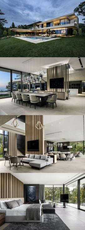 加拿大的豪华现代湖屋