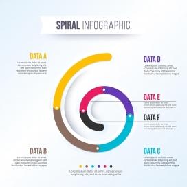 五彩的6字型螺旋信息图表