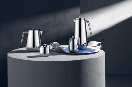 Georg Jensen的现代主义不锈钢螺旋咖啡和茶具