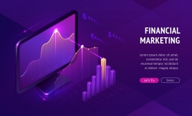 紫色3D数据信息图表素材