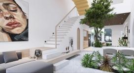 越南现代绿色的中庭房屋