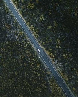 俯拍的笔直森林公路