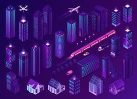 紫色城市发展素材