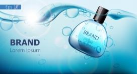 沉入水底的蓝色香水素材