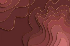 红色立体曲线金边纸片地形素材