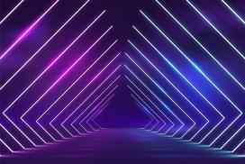 蓝紫色霓虹灯过道素材