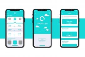 蓝色极简旅行预订应用程序界面模板
