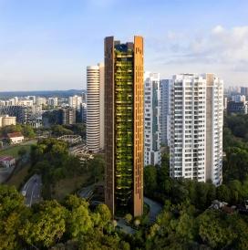 阳台上到处都是植物的新加坡摩天大楼