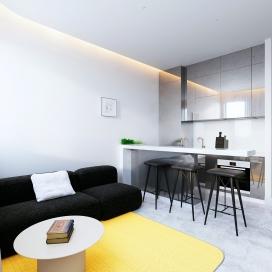 采用简单色彩注入的60平米内饰公寓