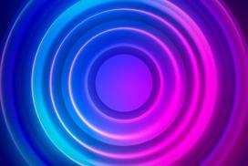 蓝紫红圆圈霓虹灯素材