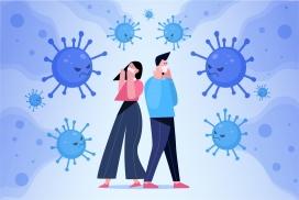 害怕冠状病毒疾病戴口罩的卡通情侣