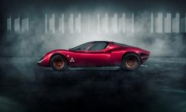红色阿尔法罗密欧33完整CGI渲染图
