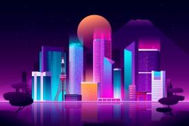东京繁华霓虹灯天际线