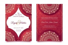 红色印度婚礼花纹套装