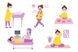 孕妇准妈妈体检卡通素材